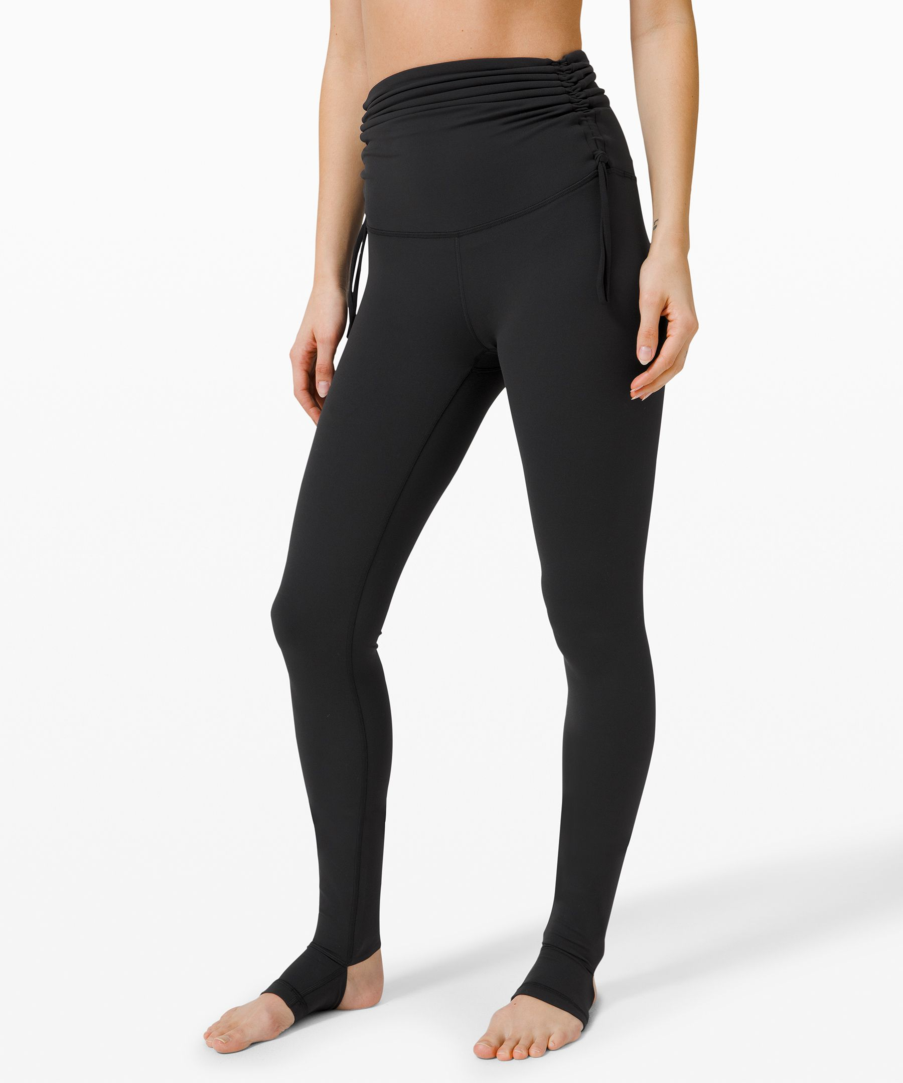 Choose the rise. These tights have a cinchable waistband so you can wear them high for coverage or cinched down.