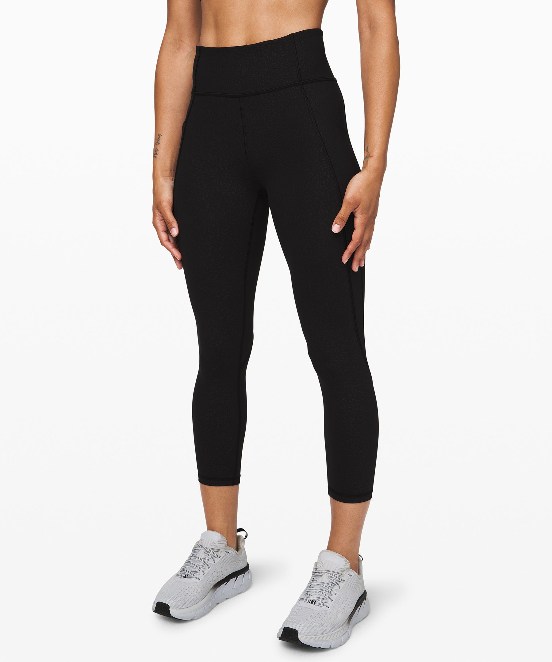 "Lululemon Time To Sweat Crop *23"" In Polar Shift Emboss Black"