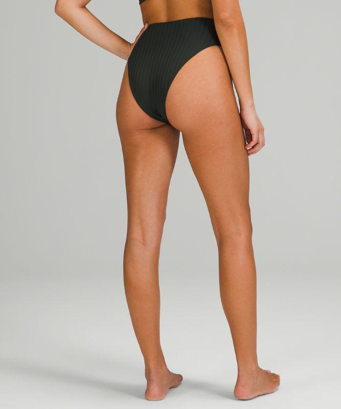 Culotte bikini taille haute hyper-minimaliste côtelée