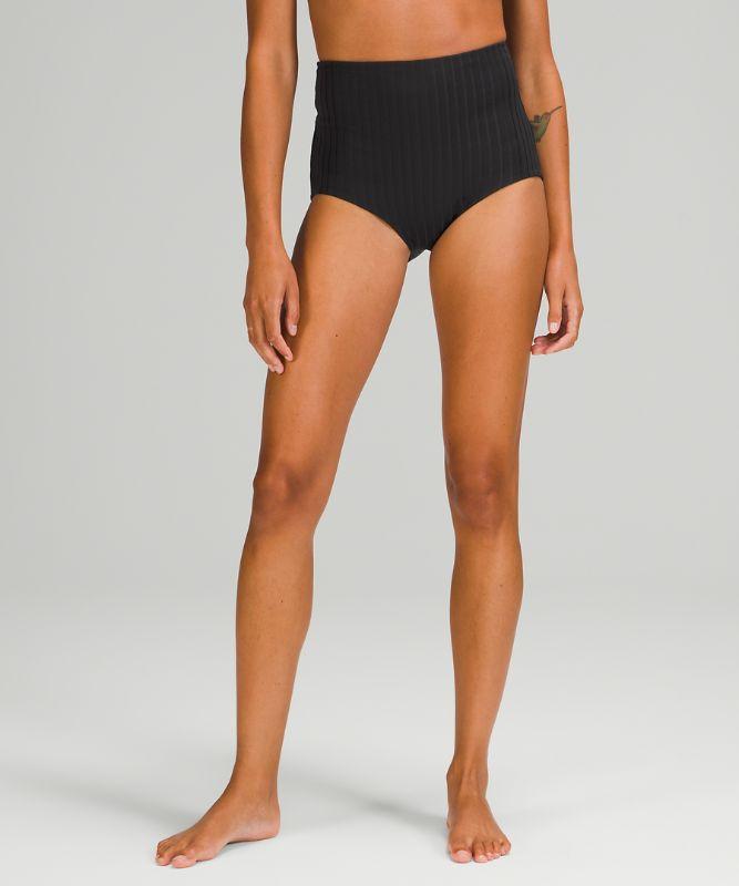 Waterside Ribbed High-Waist Full Swim Bottom
