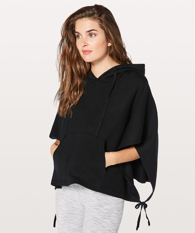 All in a Day Hooded Poncho BLK O/S