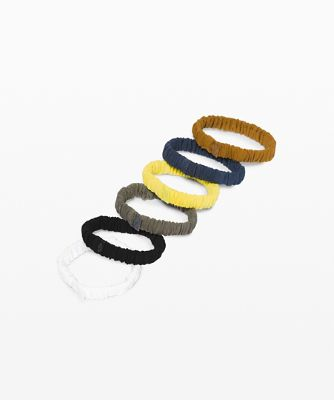 스키니 스크런치 세트 (6 pcs), WHITE-BLACK-GREY SAGE-YELLOW SERPENTINE-IRON BLUE-SPICED BRONZE