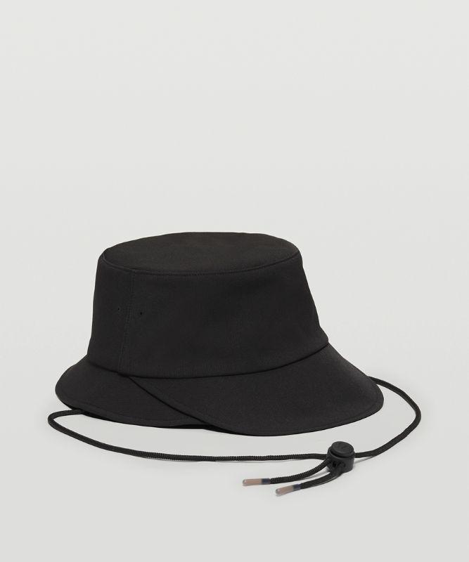 Wide-Brim Bucket Hat With Strap