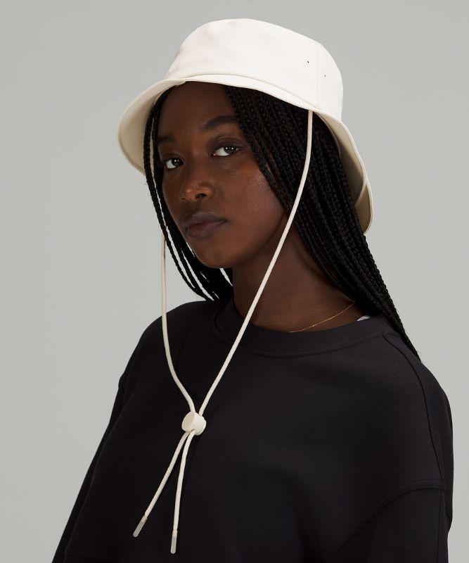 Wide-Brim Bucket Hat w/ Strap