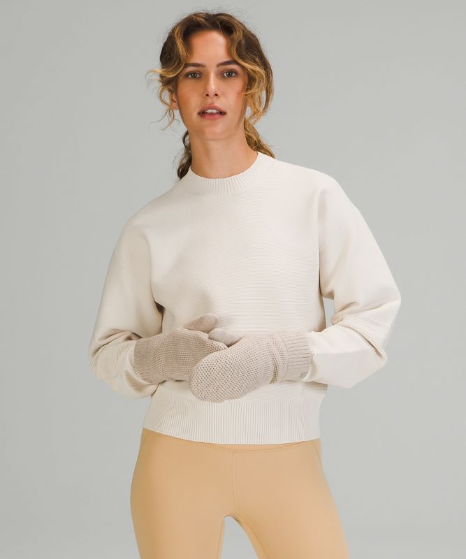 Fleece-Lined Knit Mittens