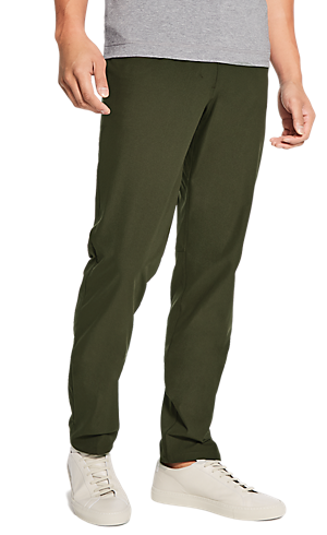 280702785bf 1 3 view of men s lower body wearing dark olive classic fit pants.