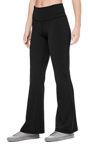 454e07b3b8949 1/3 view of women's lower body wearing black flare pants.